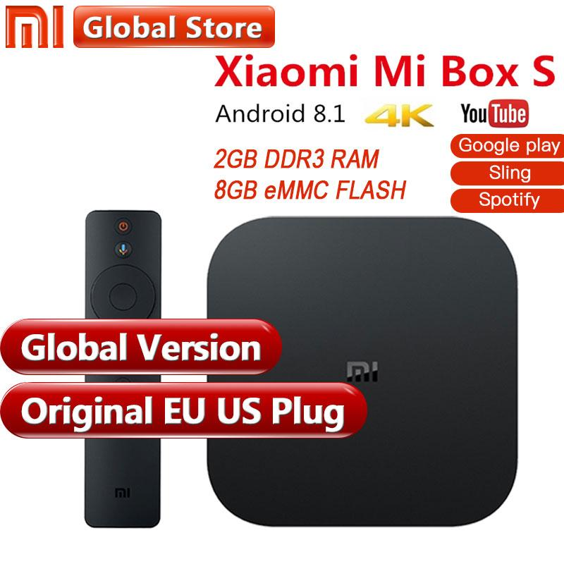 Original Global Version Xiaomi Mi Box S 4 Android 8 1 4K QuadCore Smart TV  Box 2GB 8GB HDMI 2 4G 5 8G WiFi BT4 2 Mali450 1000Mbp