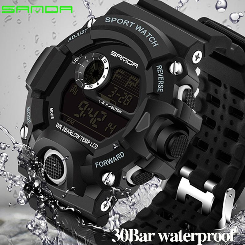 new 2018 Luxury Real Shock Analog Quartz Digital Mens Watch 2018 New Brand Sanda Fashion G Style 50m Waterproof Sports Military Watches