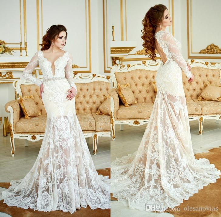 2018 Wedding Dress Renaissance Lace Bohemian Long Sleeve Dress Open ...