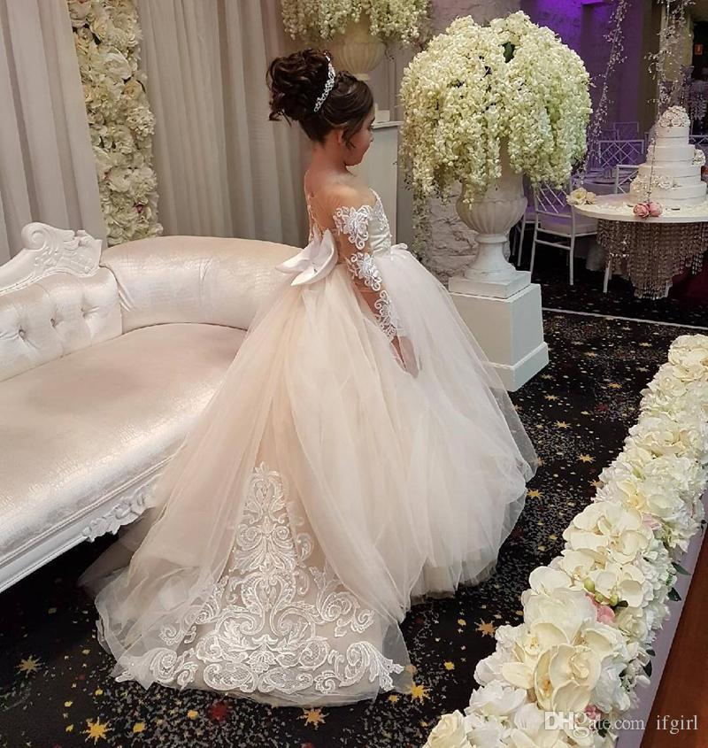 a6f6f24325f Cute Long Sleeves Ball Gown Flower Girl Dresses with Bow 2019 princess  flower girl dress for wedding Kids