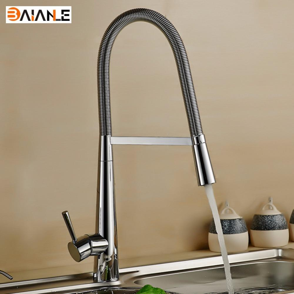 Kitchen Faucet Deck Mounted Brass Brushed Nickel Pull Out Rotary ...