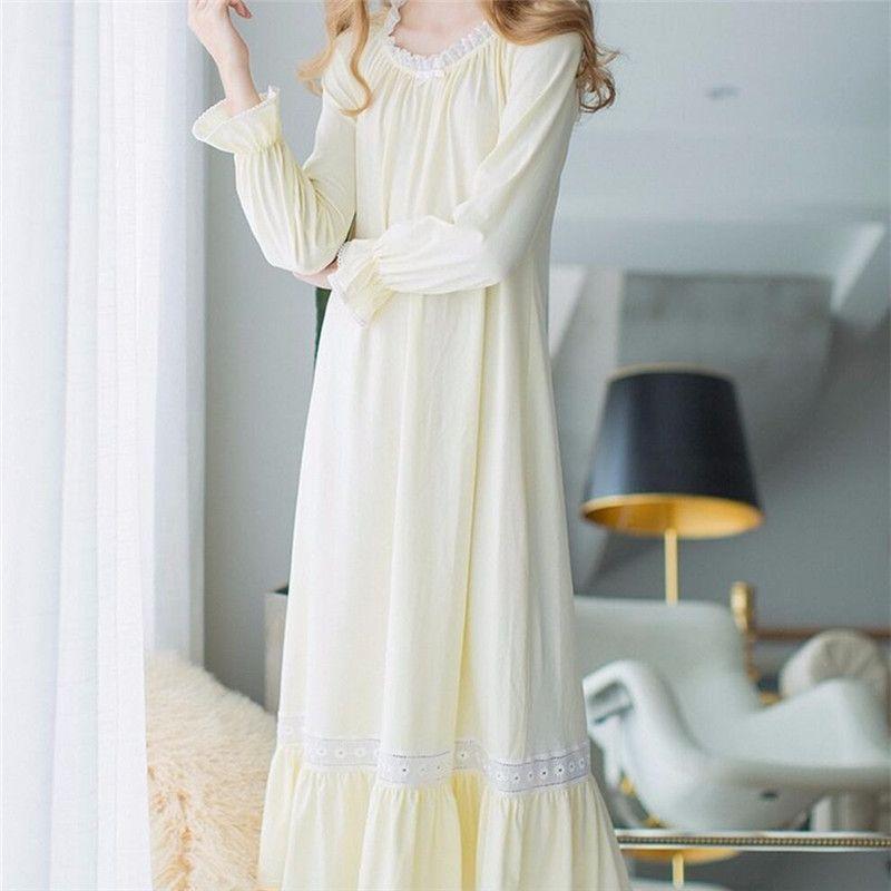 Autumn Long White Nightgowns Women Vintage Sweet Sleepwear Plus Size Home Dress Sweet Maternity Cotton Sleep Lounge #LL26