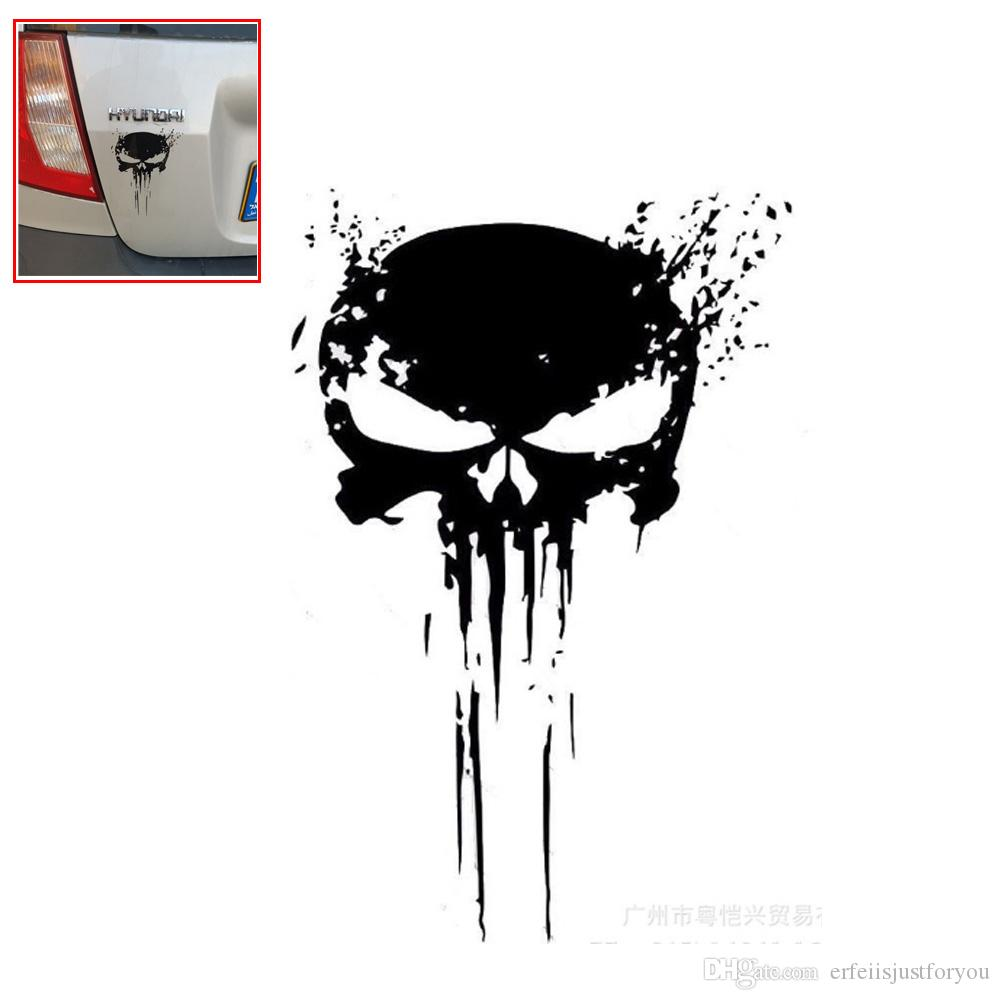 10*15cm Black/White Car Skull Head Halloween Party Decor Auto Body Door Bumper Sticker Horrible Decals Films Creative Stylish Accessory New