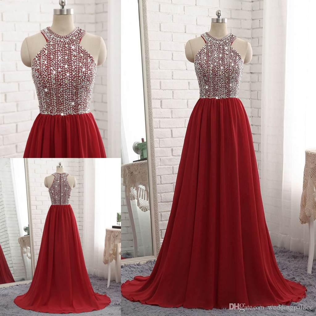 0b582764a51 2018 Dark Red Chiffon Long Evening Dresses Beaded Top Prom Dresses Luxury A Line  Cheap Off Shoulder Prom Party Gown Vestidos De Fiesta Evening Dress China  ...