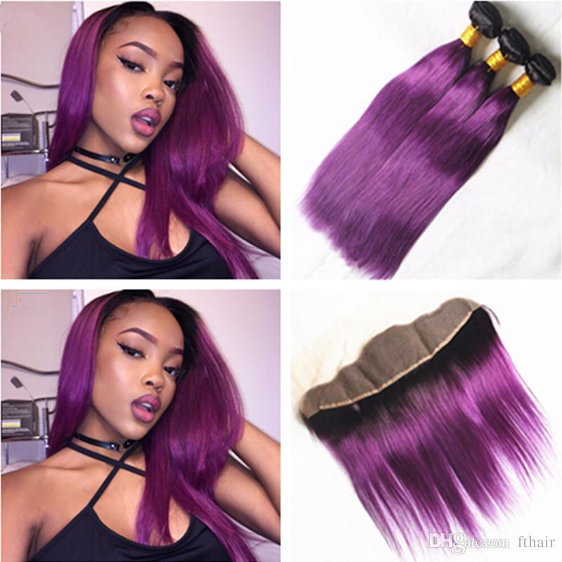 9a Silk Straight Purple Hair Weave With Frontal Closure Ombre Hair
