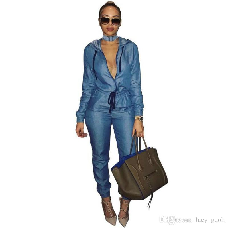 170044686a37 Long Sleeve Bodycon Denim Jumpsuit Women Hooded Jumpsuit Overalls ...