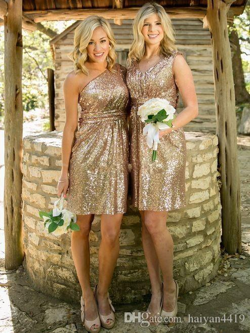 2018 Cheap Light Gold Bridesmaid Dresses Short Mini One Shoulder V Neck Sequined Ruched Country Beach Wedding Gust Dress Maid of Honor Gowns