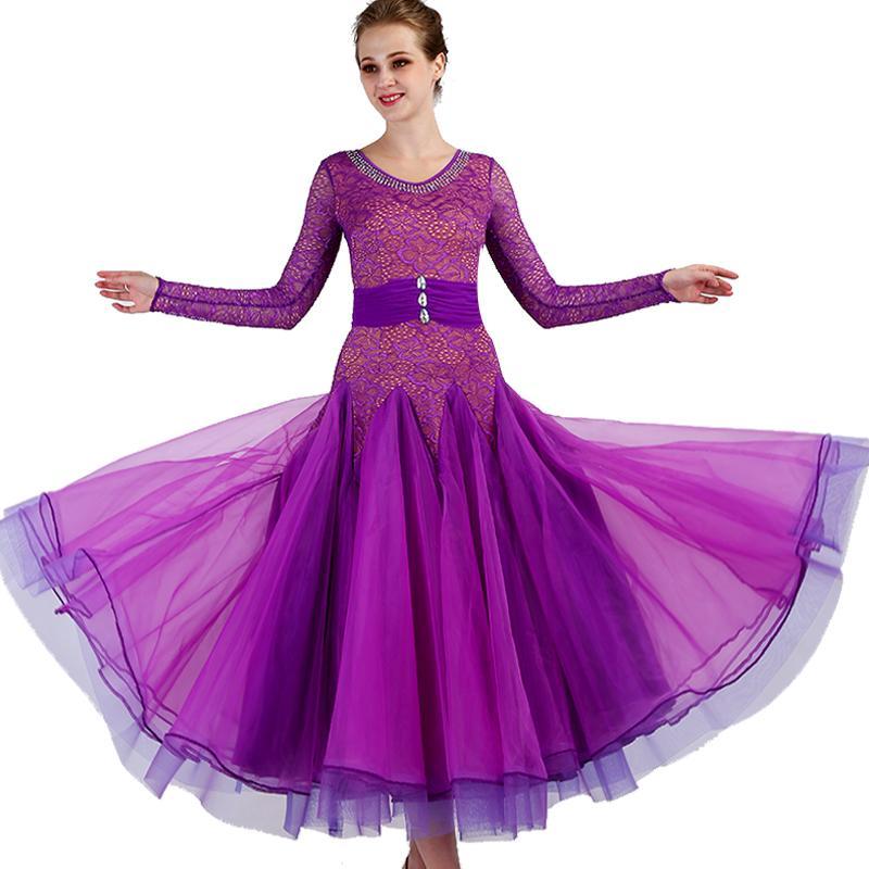 0fcae70ff7 Compre Vestidos De Baile De Salón Púrpura Mujeres De Encaje Estándar Waltz Dancing  Costume Adult Ballroom Competition Dresses Q090 A  176.31 Del Yujian18 ...