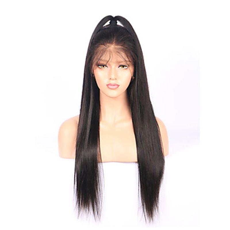 Parrucche piene del merletto diritte nere seriche del nero 1b # lunghe con i capelli del bambino Parrucche anteriori glueless sintetiche del merletto resistenti al calore le donne nere