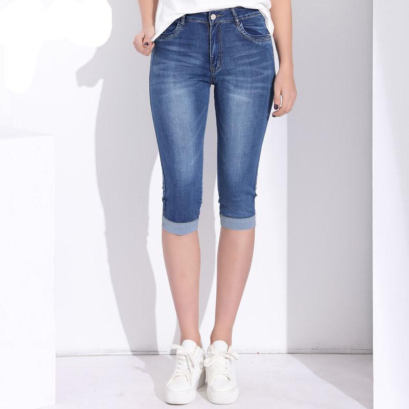 ecc49b3d75ebf Plus Size Skinny Capris Jeans Woman Female Stretch Knee Length Denim ...