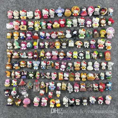 Mini Hello Kitty Random mix no phone Strap PVC Figure Toy Kids Phone Accessories