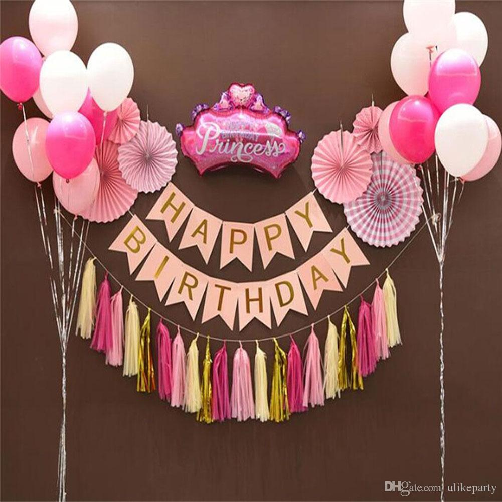 Party Decoration Set For Kids Kit Tissue Paper Fan Tassel Garland HAPPY BIRTHDAY Bunting Banner With Balloons Happy Birthday