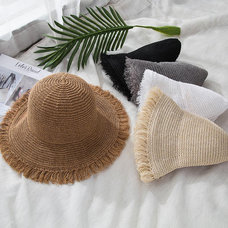 cb00c040448f Summer Boater Hats For Women Straw Sun Hat Lady Girls Lace Panma Beach Hat  Floppy Female Travel Folding Chapeu Snapback Hats Straw Hat From Geworth,  ...