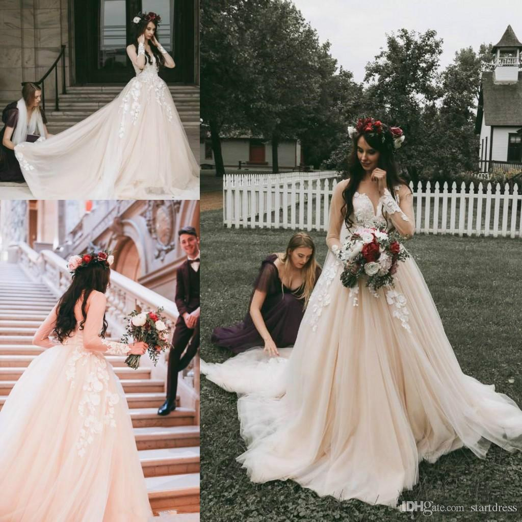 700b25ec19787 Classical Pink Blush Wedding Dresses Country Rustic Illusion Floral  Appliques Long Sleeve Lace Bridal Gown From China Plus Size Vintage 2019