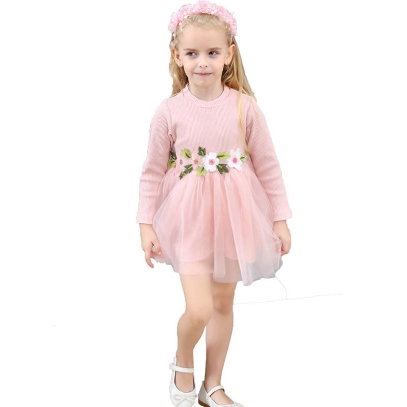 4ef9d2b41be Compre Nueva Primavera Niñas Vestido Casual Niños Manga Larga Cintura  Vestidos De Flores Princesa Fiesta Vestido De Bola Vestido De Malla De Ropa  A $8.74 ...