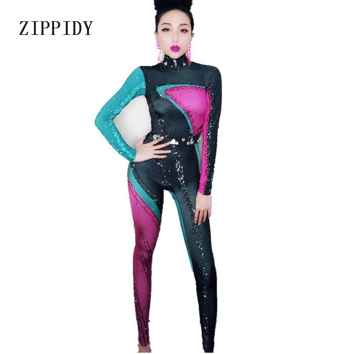 Colorful Rhinestones Jumpsuit Long Sleeves Big Stretch Sexy Bodysuit Nightclub Party Dress Costume One-piece Dance Leggings S916