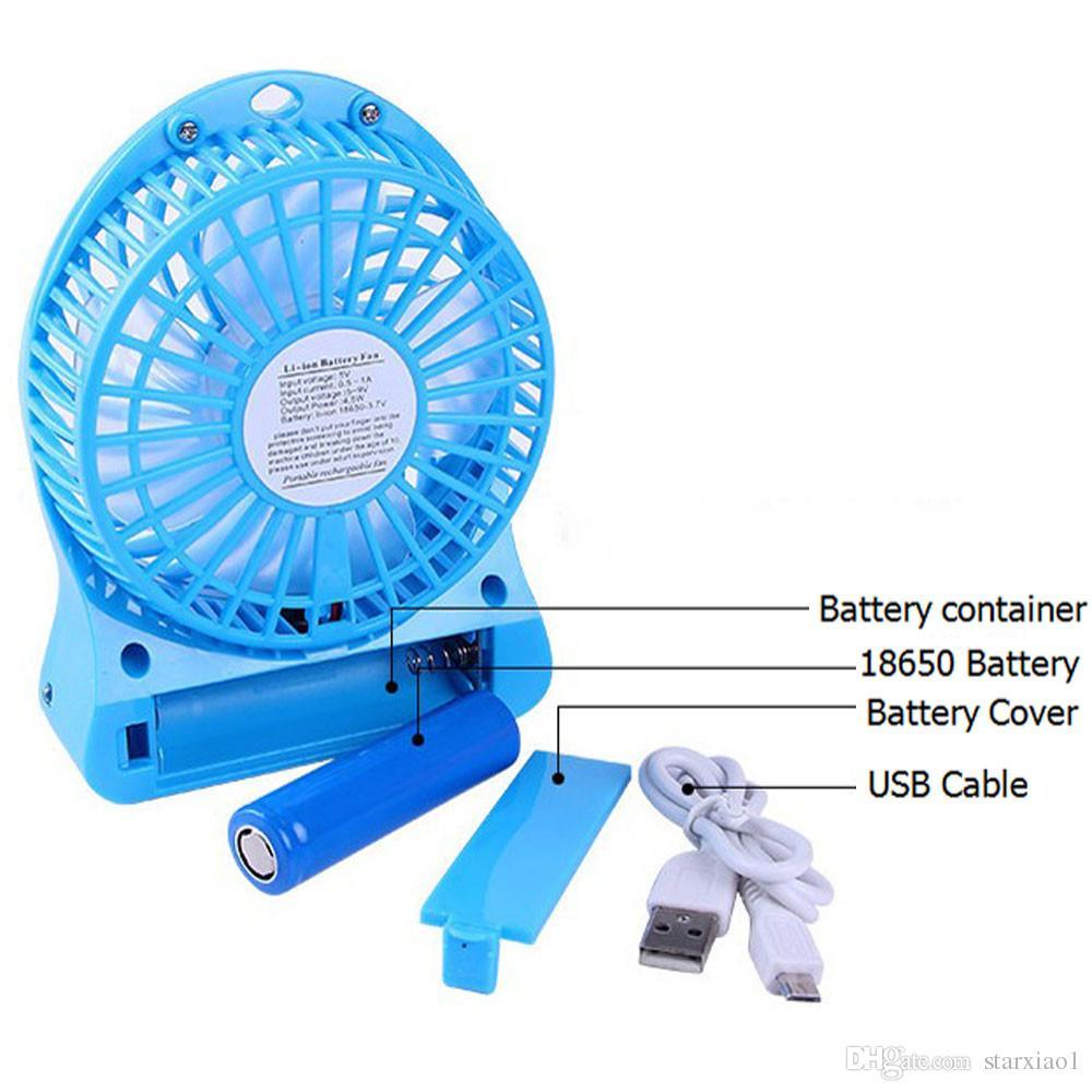 Top Venda Recarregável CONDUZIU a Luz do Ventilador de Refrigerador de Ar Mini Mesa USB 18650 Bateria Recarregável Ventilador Com Pacote de Varejo para PC Computador Portátil
