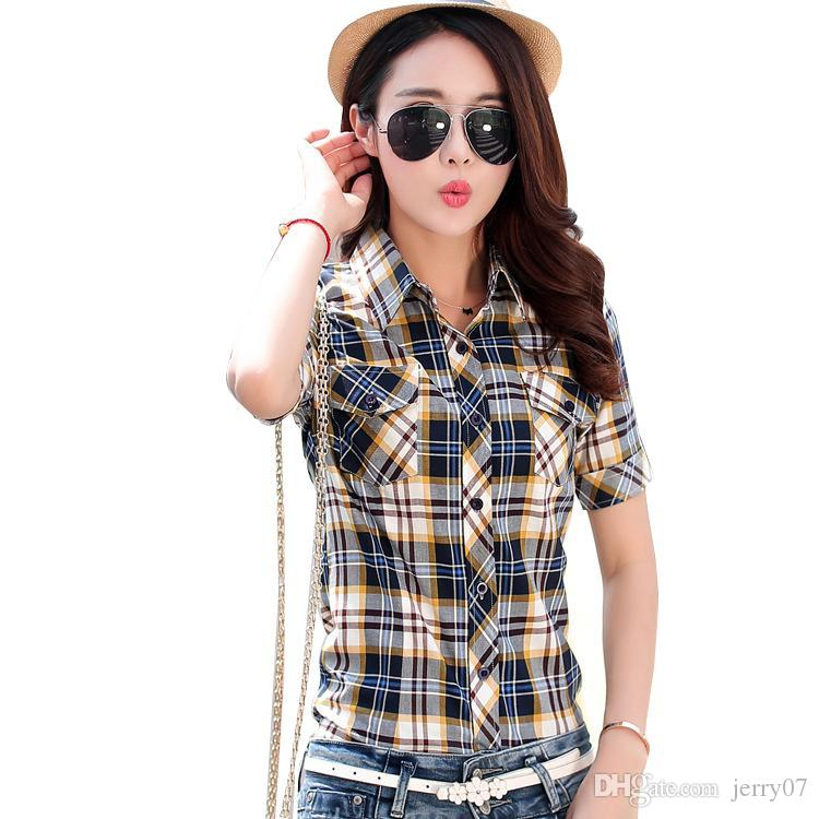 177006944ec 2019 Brand New 2018 Summer Style Plaid Print Short Sleeve Shirts Women Plus  Size Blouses Casual 100% Cotton Tops Blusas From Jerry07