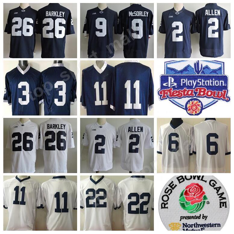 2019 Men PSU College Jerseys Penn State Nittany Lions Football 26 Barkley  McSorley 1 Paterno 22 Lynch 2 Allen 88 Gesicki Fiesta Bowl Rose Bowl From  ... ab41d82ce