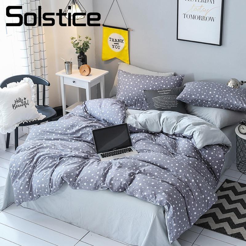 Solstice Home Textile King Queen Twin Bedding Sets Adult Teen Kid Boy Girls  Bedlinens Gray Star Duvet Cover Bed Sheet Pillowcase Duvet Cover Sale  Floral ...