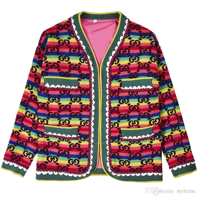 Brand Designer Women Jacquard Cardigan Sweaters 2018 Autumn Winter Fashion Rainbow Stripes Letter Pullover Casual Oversize Knit Top Knitwear