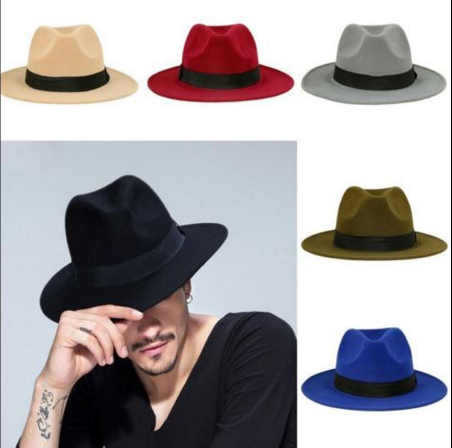 03099c134 AAA Men s Fedora Hat For Gentleman Woolen Wide Brim Jazz Church Cap Band  Wide Flat Brim Jazz Hats Stylish Trilby Panama Caps