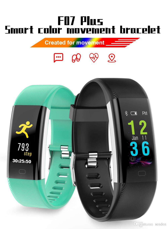 Braccialetto Bluetooth Smart Band F07 Plus OLED a colori schermo Braccialetto IP68 Impermeabile frequenza cardiaca nuoto Blood Pressure Smart Braccialetti