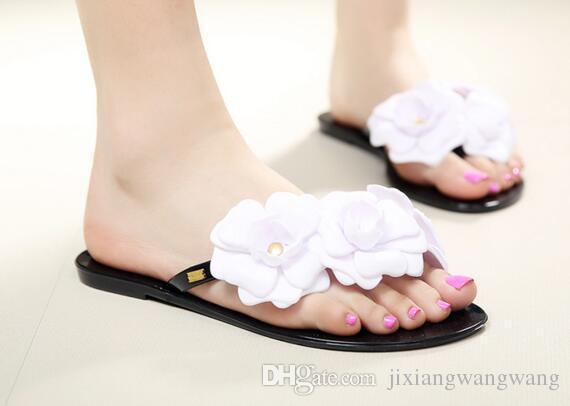 Wholesale-2018 yaz kadın çiçek terlik kadın flip flop çiçekler terlik pvc sandalet Kamelya Jöle Ayakkabı plaj ayakkabı