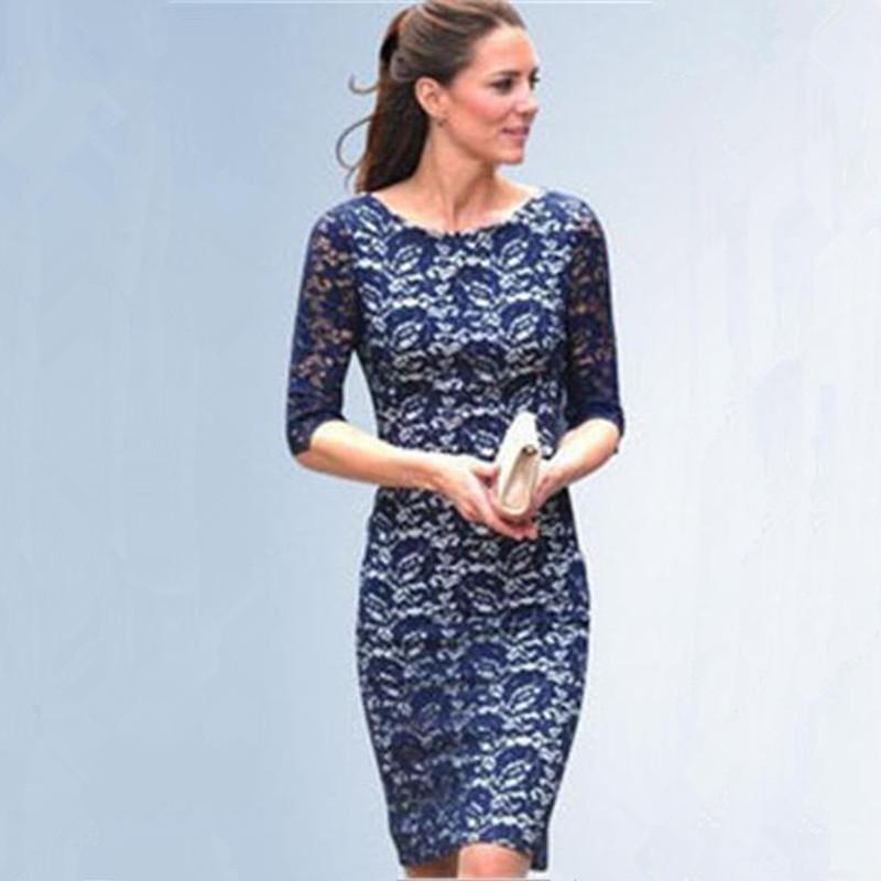 a21ee9be1 Compre Vestido De Encaje Azul Europa EE. UU. Rusia Súper Estrellas Princesa  Del Mismo Estilo De La Marca Vestido Ahueca Hacia Fuera Sexy Slim Noble  Lady ...