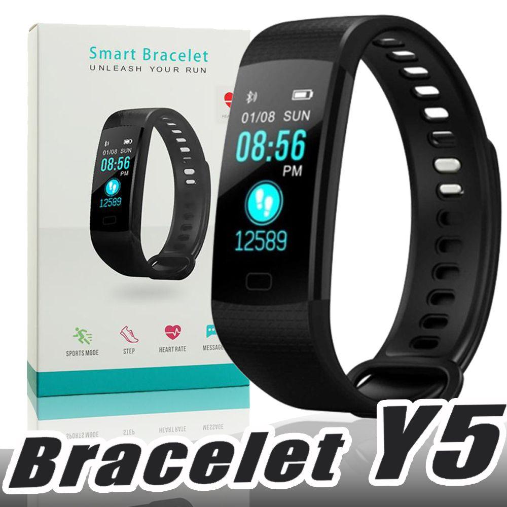 02c2744ed4e2 Y5 Pulsera inteligente Pulsera Fitness Tracker Pantalla a color Podómetro  del ritmo cardíaco Deporte Rastreador de actividad a prueba de agua para  xiaomi ...