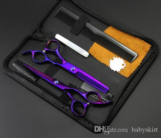 6inch purple Personality Hairdressing Scissors sets kits flat teeth barber hair products styling tools scissors send with comb drop ship