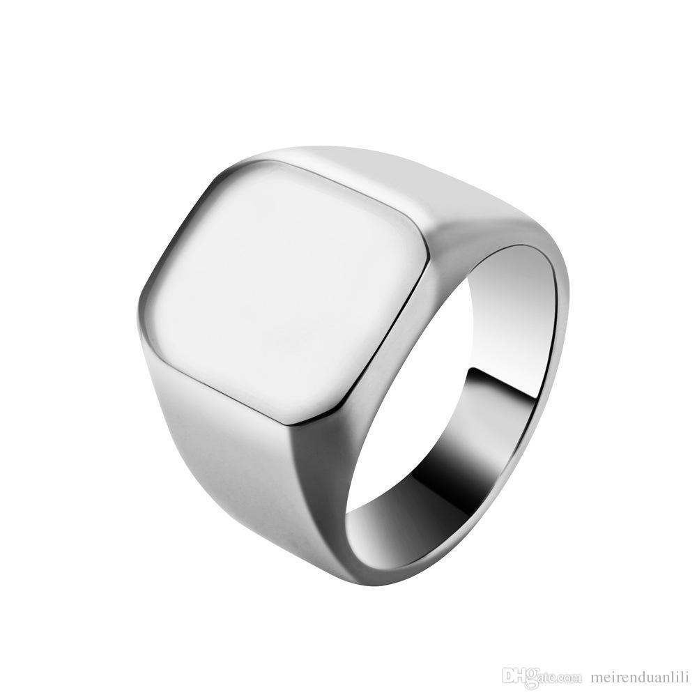 18mm Breite Einfache Quadratische Ring Edelstahl Band Ringe Silber Schwarz Gold Farbe Männlichen Ring Schmuck Fingerringe Für Männer Designer Schmuck