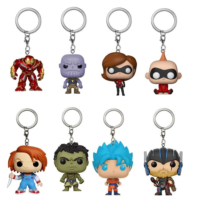 New Funko Pop Action Figure Keychain Gxhmy 2 Groot Marvel Super Deadpool Blue hair Goku Invincible Hulk Raytheon 3 Figurines Toy Gift 4cm