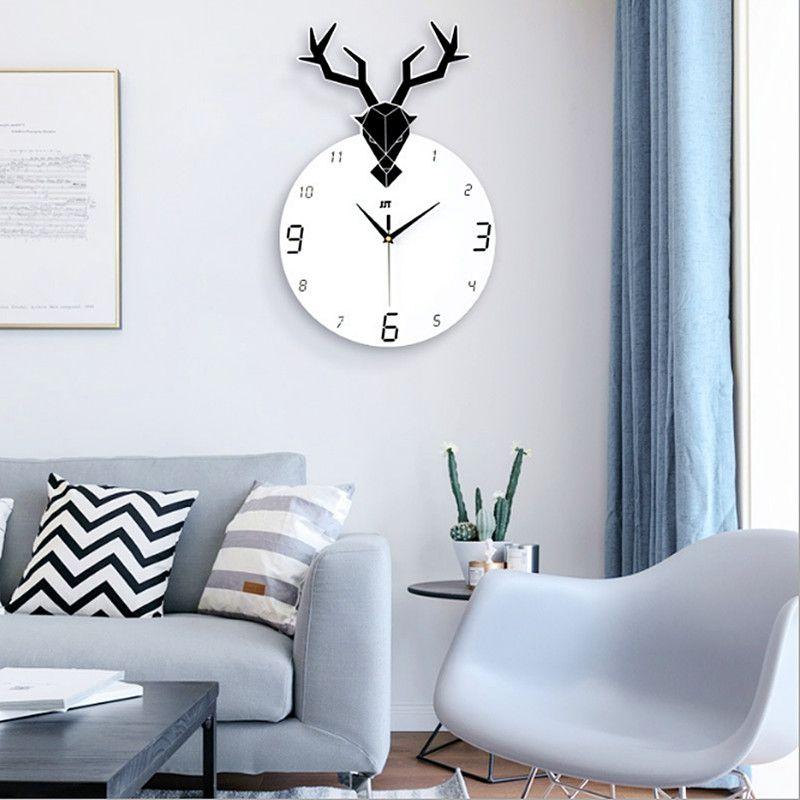 Deer Head Wall Clock Living Room Clocks Modern Minimalist Nordic  Personality Fashion Restaurant Creative Art Silent Wall Clock