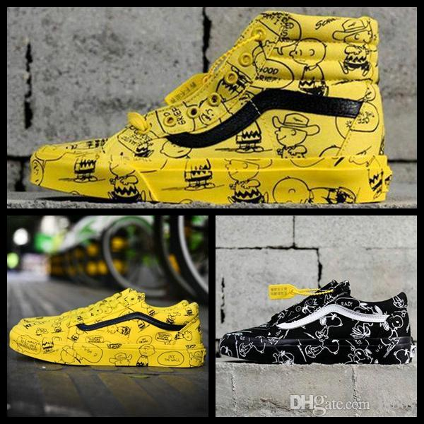 Off VANSES Vault X Bad Brains Peanuts Old Skool Sk8 Hi Mens Women Casual  White Designer Shoes Snoopy Cartoon Graffiti Canvas Sports Sneakers Running  ... 55d4b8a32c79