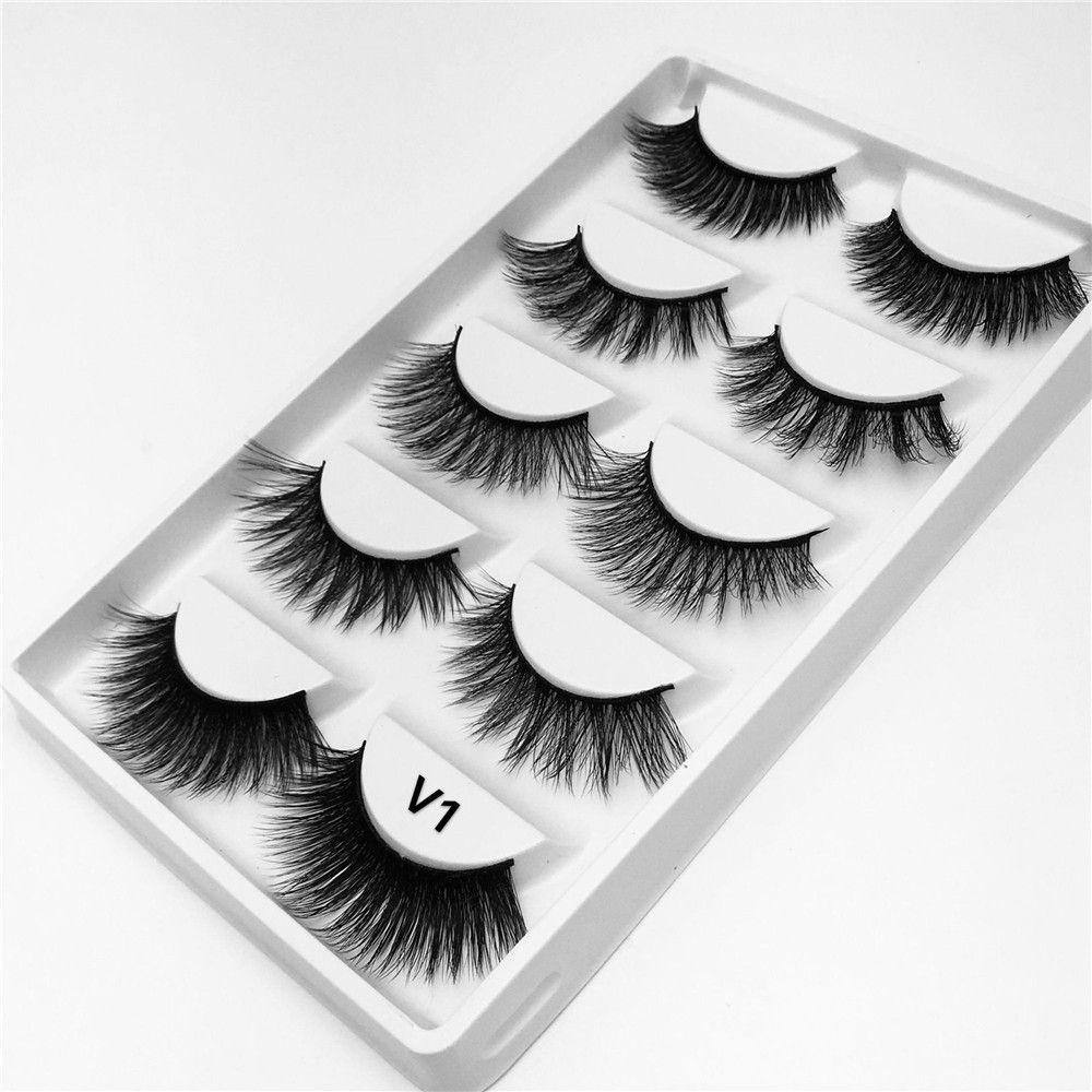 4694f0e8058 5 Mixed Pairs 3D Mink Hair Natural Cross False Eyelashes Long Messy Makeup  Fake Eye Lashes Extension Make Up Beauty Tools Maquiagem How To Clean False  ...