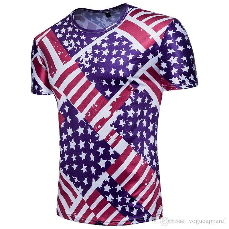 6d25981e83 Compre América Eua Bandeira Impressa Camisetas 3d Design De Manga Curta  Camiseta Encabeça Moda Tees Roupas De Verão De Vogueapparel