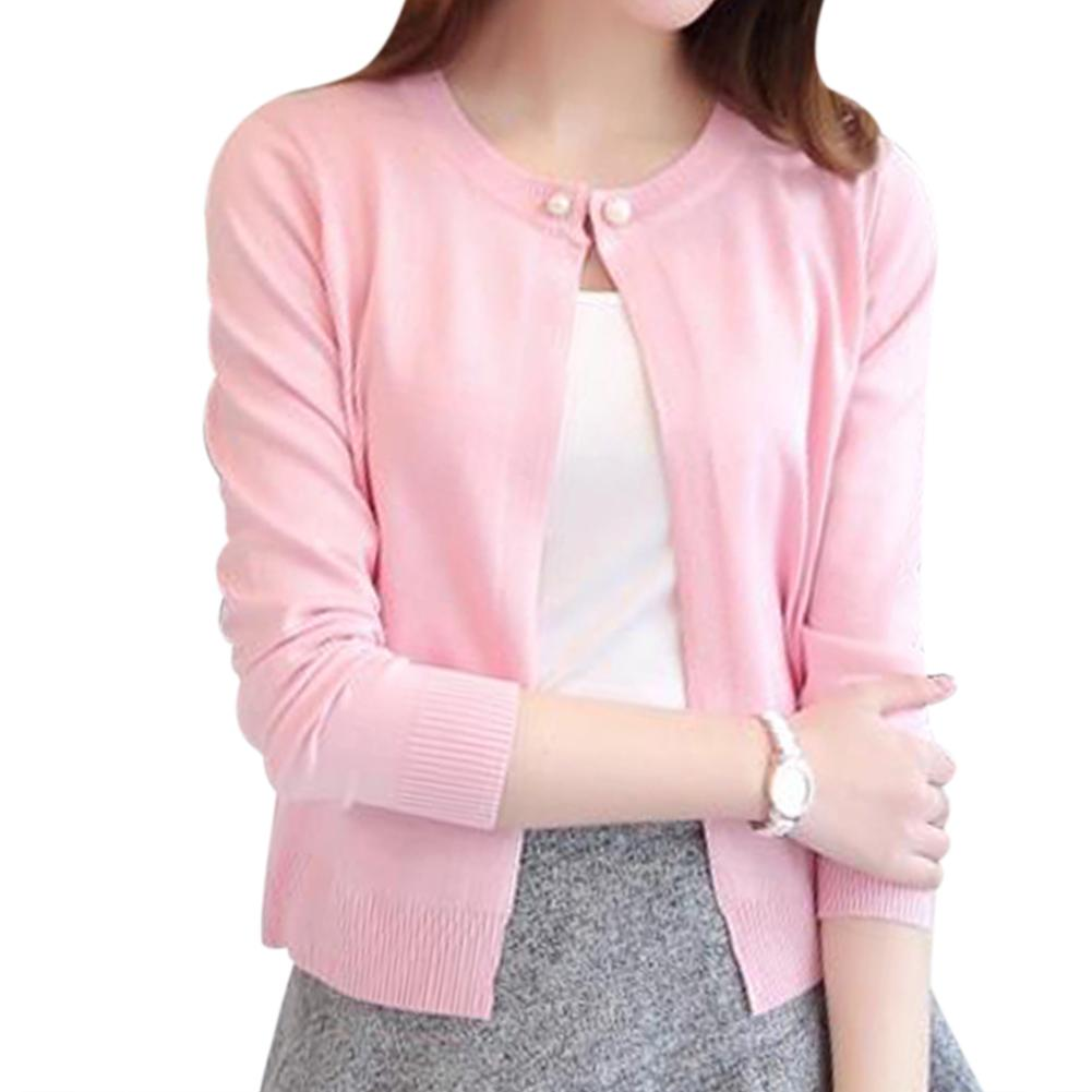 760d19e748 2019 2018 Spring Autumn Cardigan Women One Button Solid Color Sweater Tops  Ladies Casual Long Sleeve Knitt Short Cardigans Feminino From Jilihua