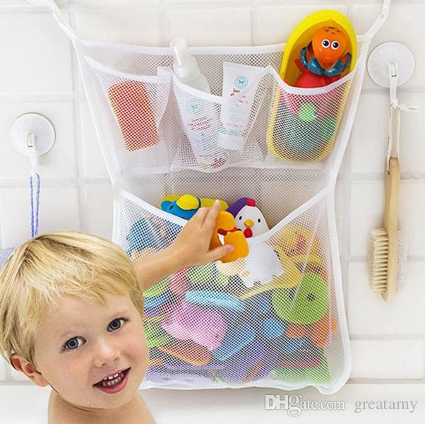 Großhandel-bunte Baby Spielzeug Mesh Aufbewahrungstasche Bad Badewanne Puppe Organizer Saug Bad Zeug Net Bad Hängenden Taschen