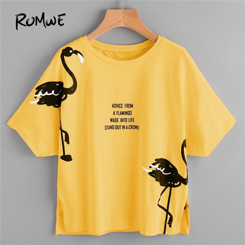 7427a27cf9380 ROMWE Dolman Sleeve Graphic Tee 2018 Col Rond Manches Courtes Lettre Animal  Imprimé Été Drôle T Shirt Femmes Split TopY1882902