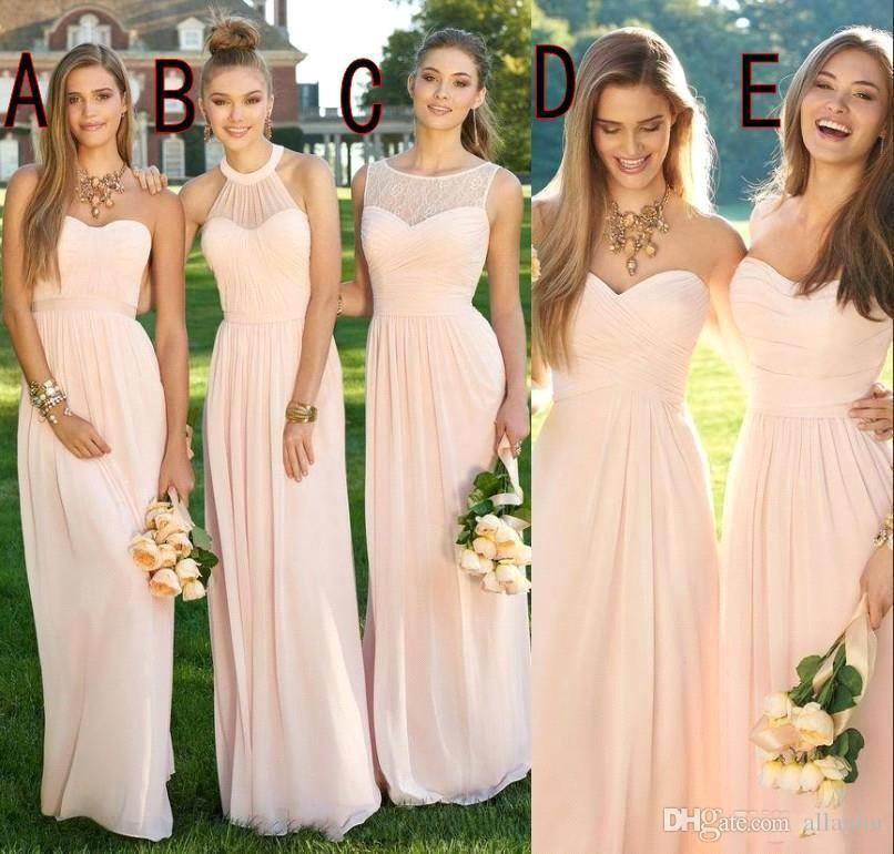 2018 Pink Navy Cheap Long Bridesmaid Dresses Mixed Neckline Flow Chiffon Summer Blush Bridesmaid Formal Prom Party Dresses with Ruffles