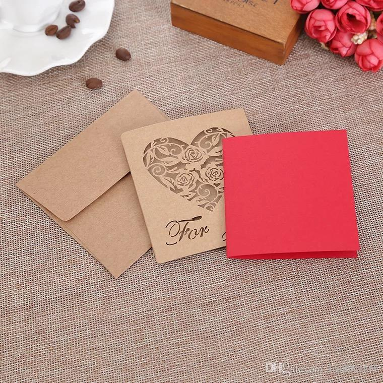 Creative Mini Folding Kraft Paper Greeting Card Best Wishes Happy Birthday Blessing Message Event Party Craft Supplies Designer Cards