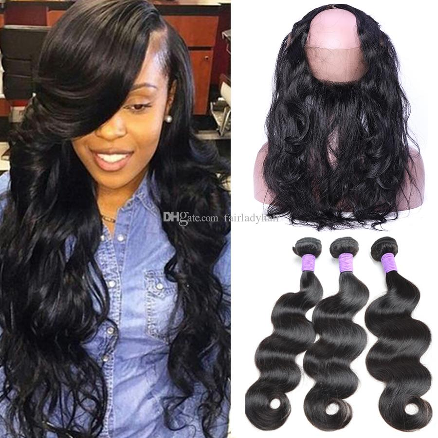 Brazilian Hair Weave Bundles With 360 Lace Frontal Body Wave Hair Weaves  With 360 Lace Closure Brazilian Body Wave Hair Products For Sale Black Hair  Weaving ... 2d9bccc88