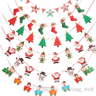 cute christmas hanging flag snowman banners santa claus flags christmas door wall hanging decoration ornaments 10 styles santa christmas decorations santa - Christmas Hanging Decorations