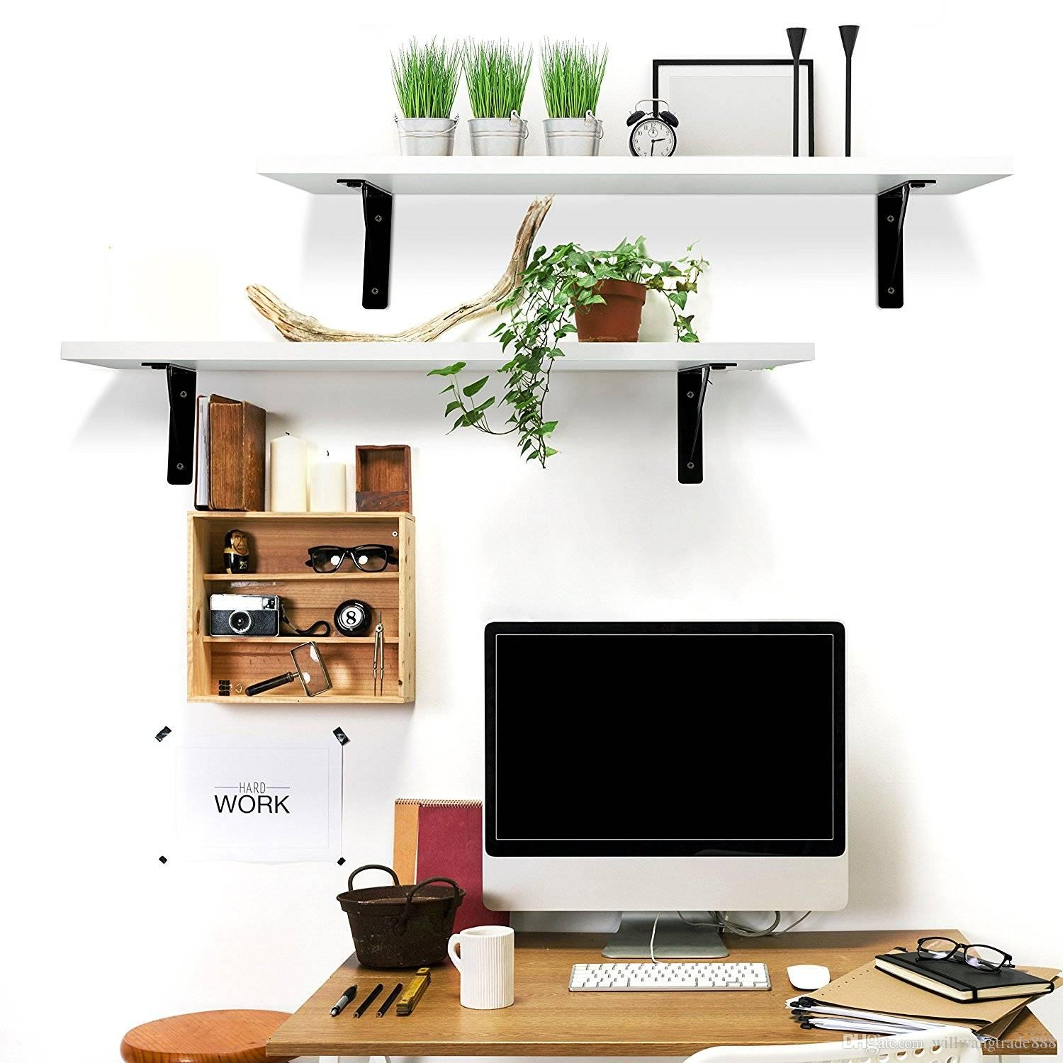 2 Display Ledge Shelf Floating Shelves Wall Mounted Bracket For