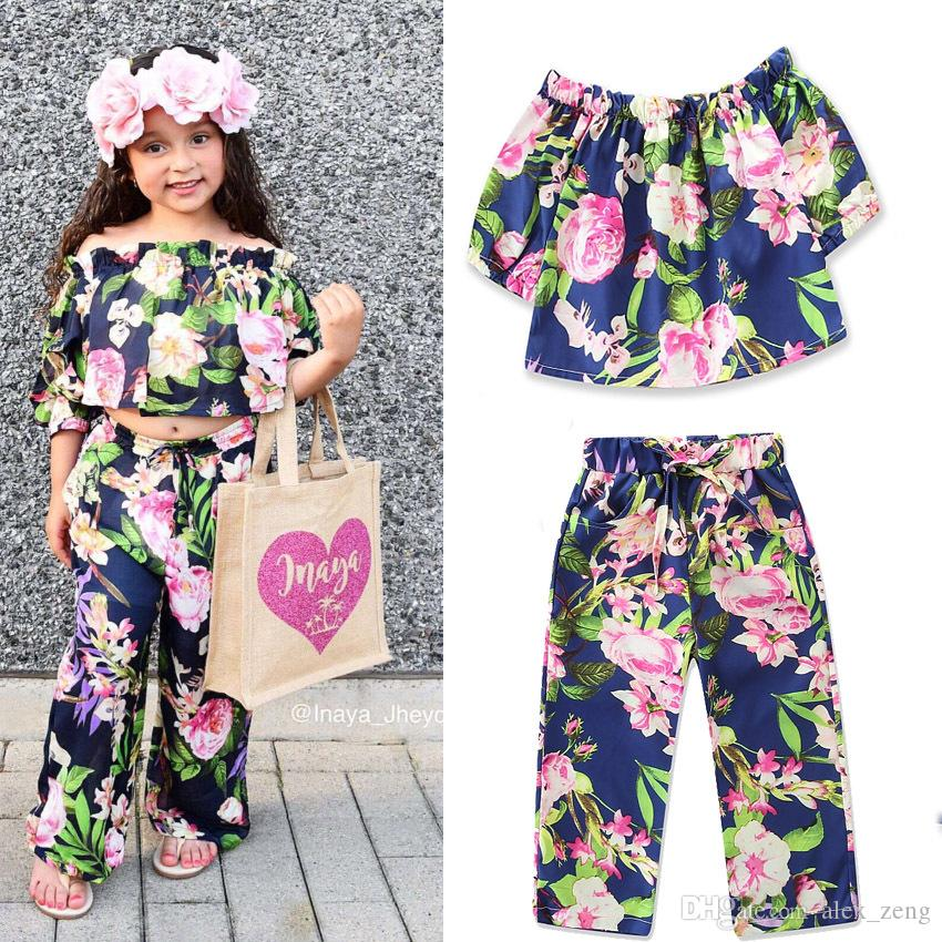 0931d3d7363 2019 2018 Baby Girls Set Summer Fashion Flower Off Shoulder Tops+Loose  Trousers Outfits Kids Boutique Clothing From Alex zeng
