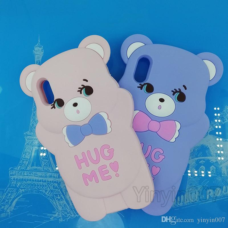 New Funny 3D Cute Cartoon Bear Soft Rubber Silicone Shockproof Drop Protection Kawaii Bumper Case Cover For iPhone 6 7 8 Plus X XS Max XR