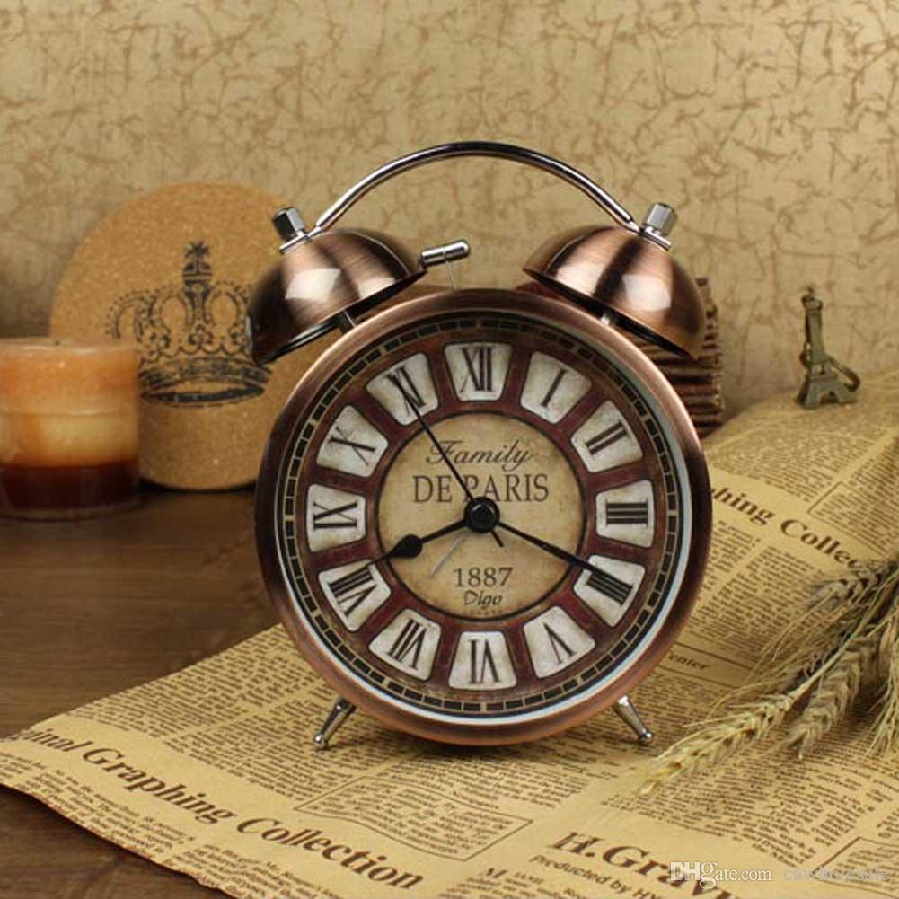 2019 Classic Vintage Style Metal Dual Bell Ring Design Alarm Clock