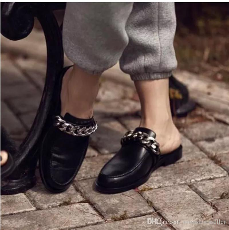 Spring Autumn Women Silver Chains Mule Shoes Soft Leather Indoor Outside Slippers Hot Selling Casual Flat Loafers Woman Shoes