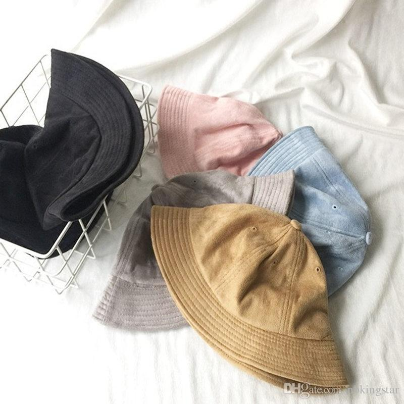 63bd1a6c 2019 Winter Foldable Suede Bucket Hat For Women Wide Brim Fisherman Hats  Floppy Sun Protection Solid Caps From Nbkingstar, $38.64 | DHgate.Com